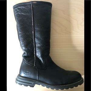 Black Ugg Leather Boots - Size 9